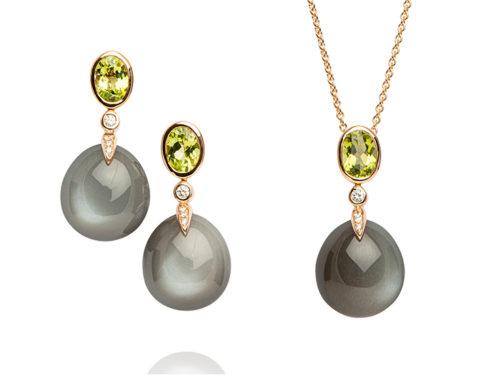 Peter Fischer Juwelen Ohrringe Collier Kette Tautropfen
